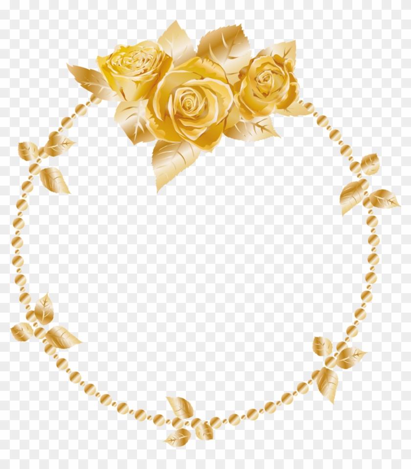Rose Oses Wreath Gold Header Border Frame Decor Decorat Clipart #1138693