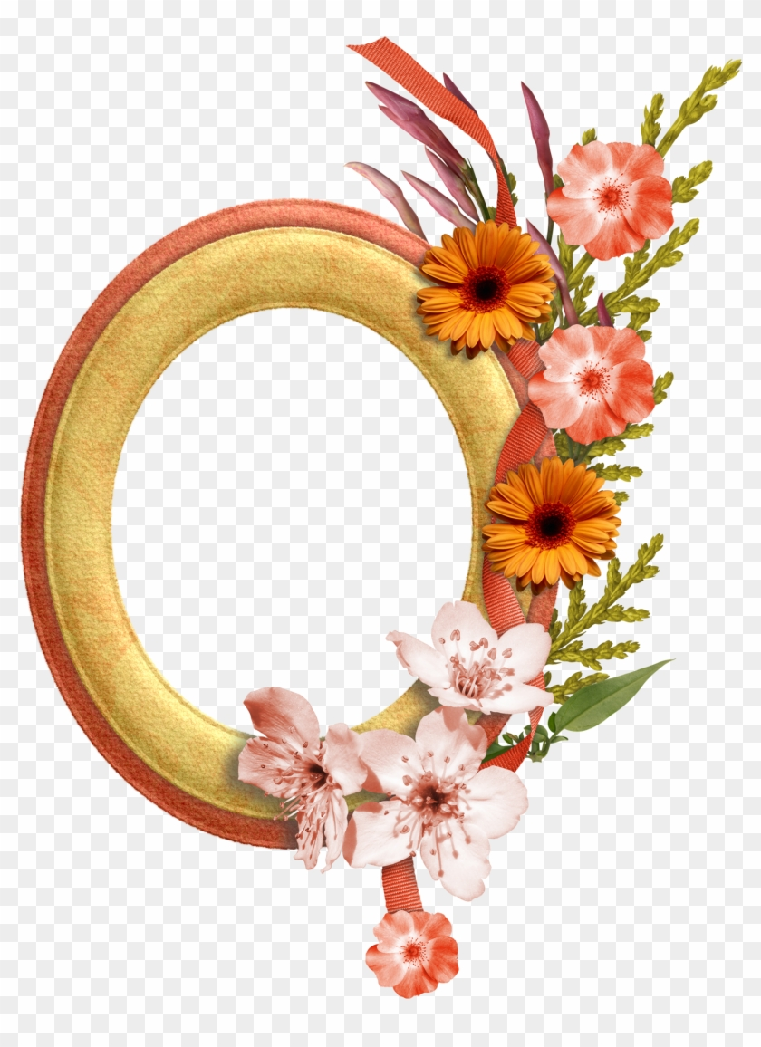 Oval Gold Frame With Flower Clipart #1152560