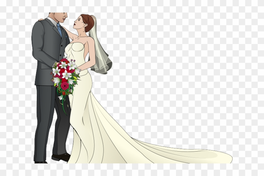Couple Clipart Marriage - Wedding Couple Clipart, HD Png Download #1176275