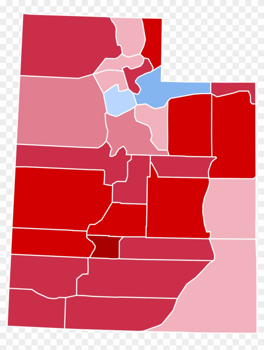 2016 United States Presidential Election In Utah - Utah 2016 Election Map Clipart #1191143