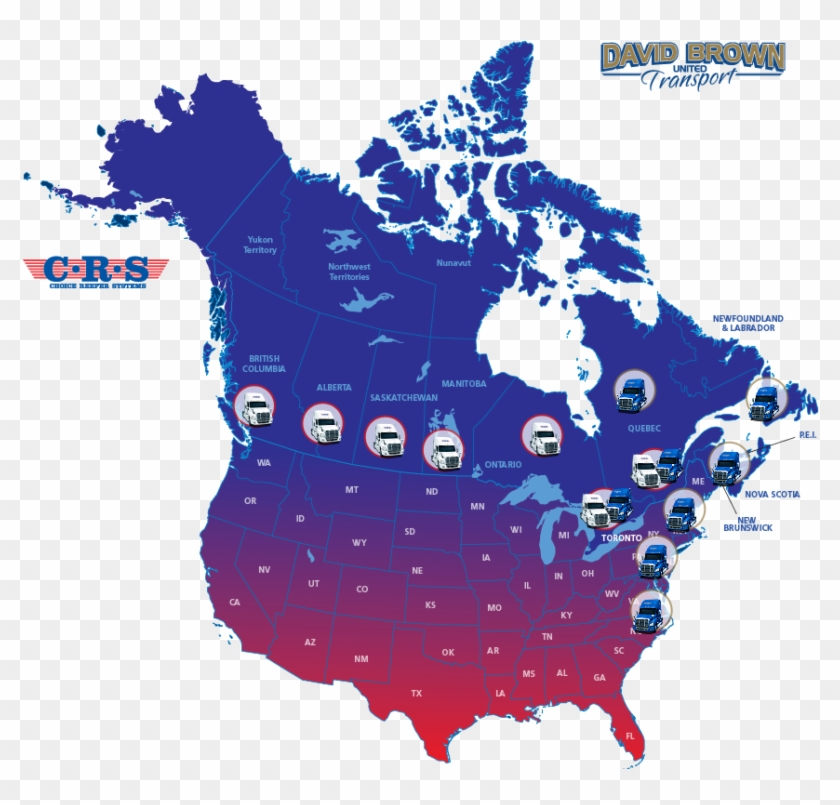Food Transport Service Map - Canada And Us Map Together Clipart #1195349