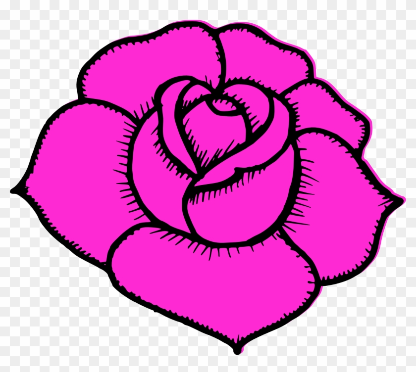 Full Size Of How To Draw A Simple Tudor Rose Outline - Simple Pink Rose Drawing Clipart #129018