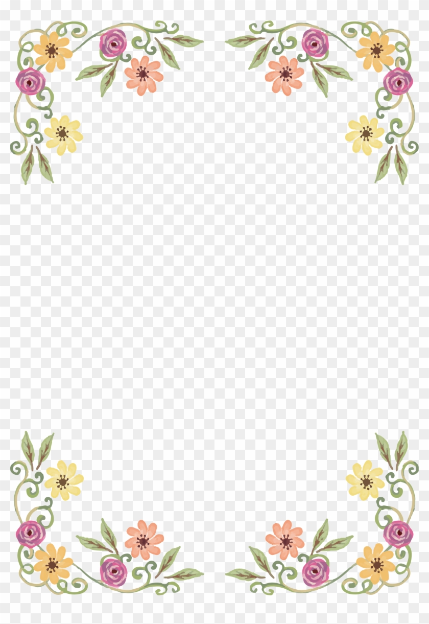 Png Black And White Library Design Border Of Wild Flowers Front
