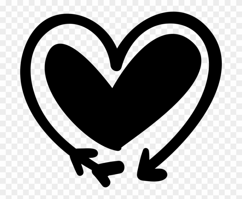 Black And White Heart And Arrow Png - Doodle Heart Clipart Transparent #1205577