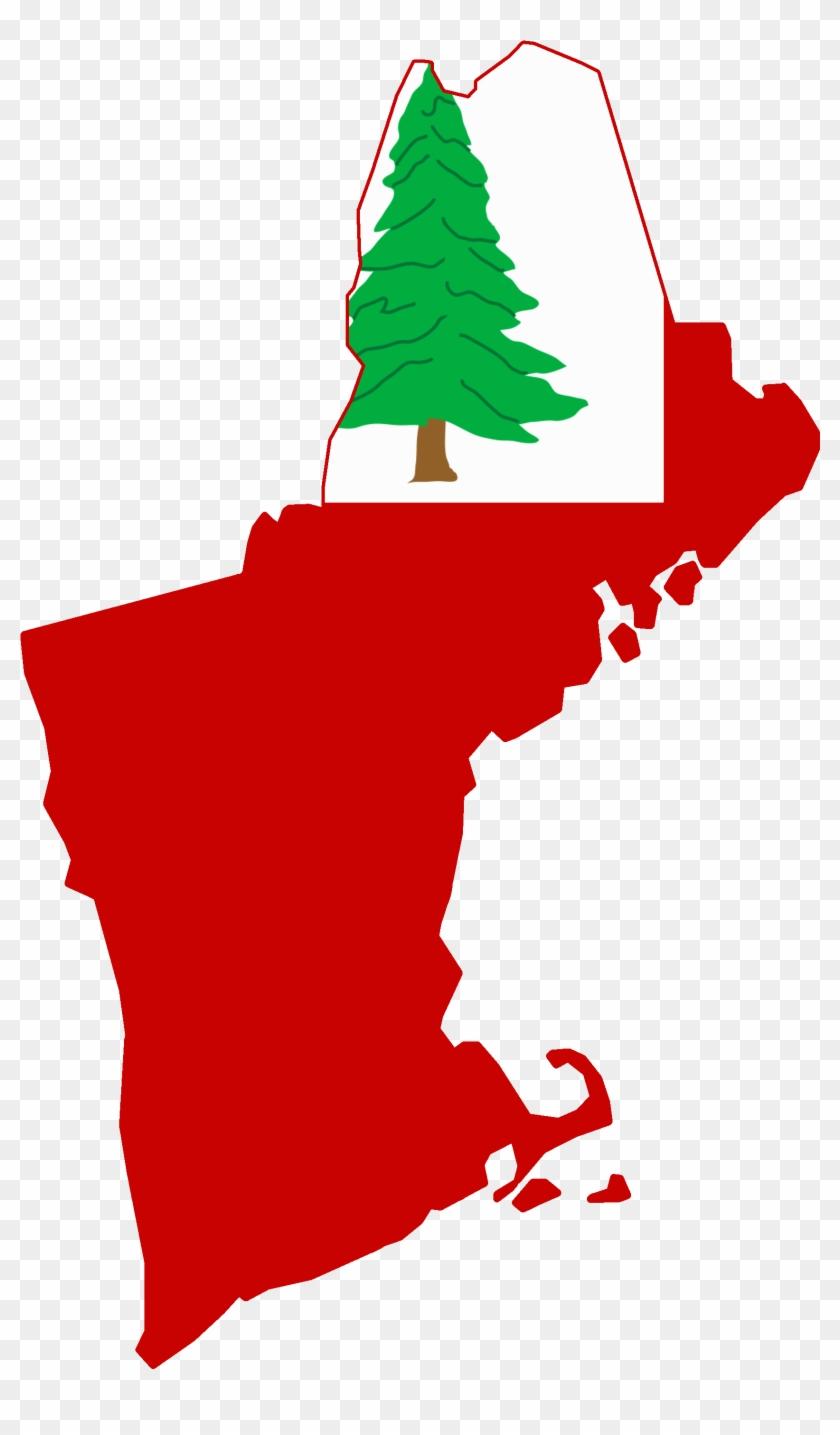 Flag Map Of New England - Connecticut Massachusetts New Hampshire Rhode Island Clipart #1228694