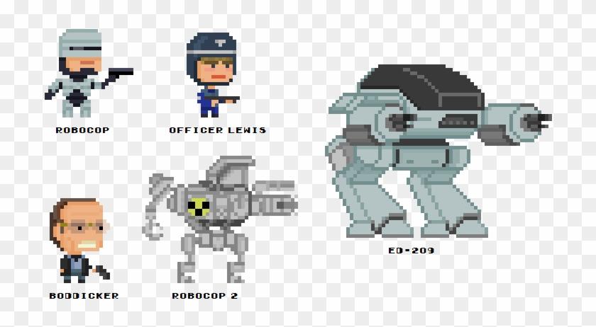 Robocop 8 Bit Pixel Art 8 Bit Ed 209 Hd Png Download