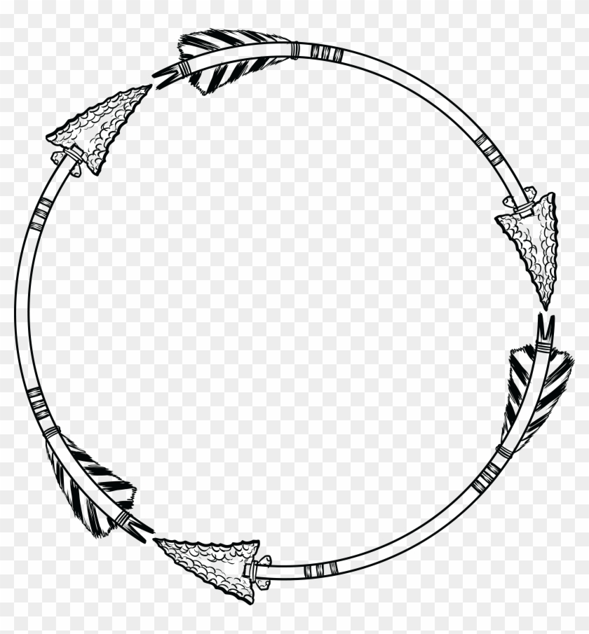 Free Clipart Of A Flint Arrow Circle Shaped Frame - Free Arrow Circle Svg - Png Download #1241227