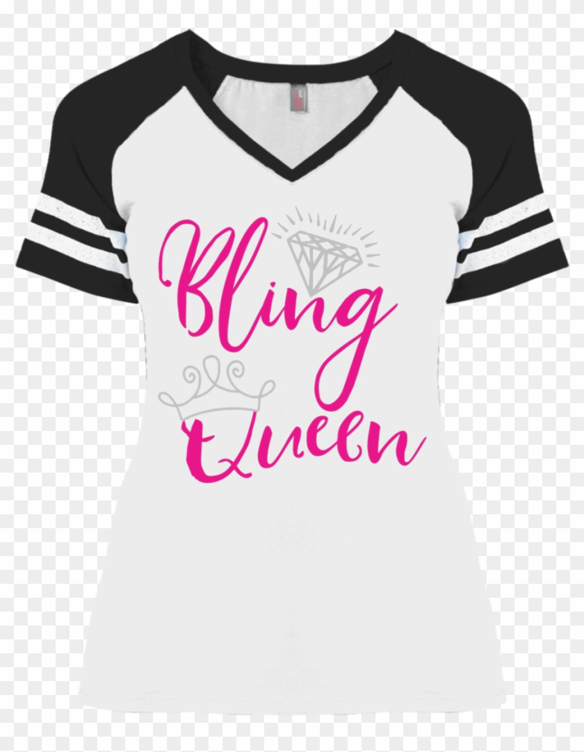 Women's Bling Queen Tee Short Sleeve With Stripes Sizes - T-shirt Clipart #1242681