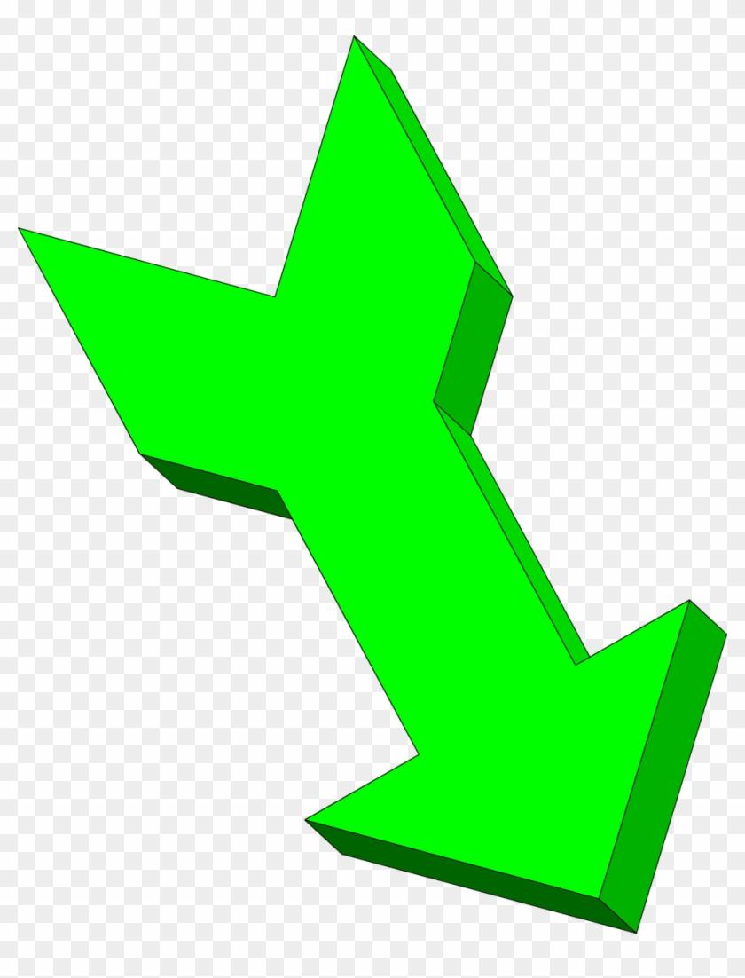 3d Curved Arrow Clip Art - Green Down Arrow - Png Download #1243594