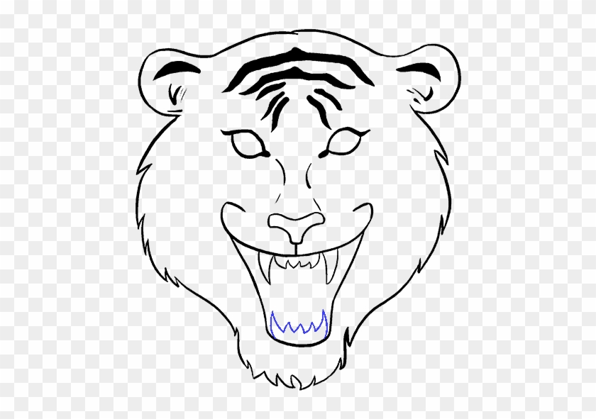 678 X 600 4 - Tiger Face Drawing Easy Clipart #1252019