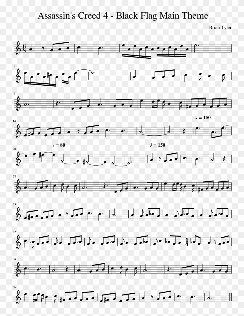Assassin's Creed - Bloody Stream Alto Sax Sheet Music Clipart #1261676