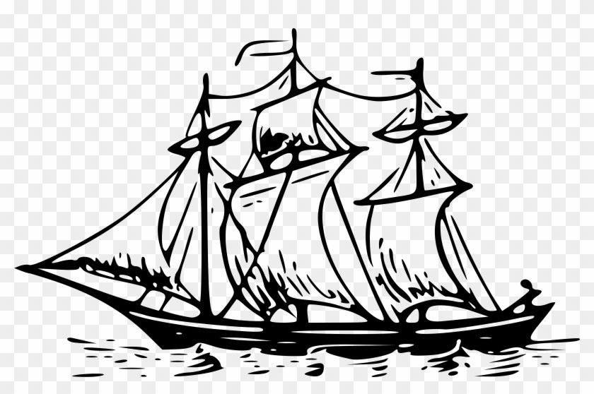 Picture Stock Boat Line Drawing At Getdrawings Com - Three Mast Ship Drawing Clipart #1266607