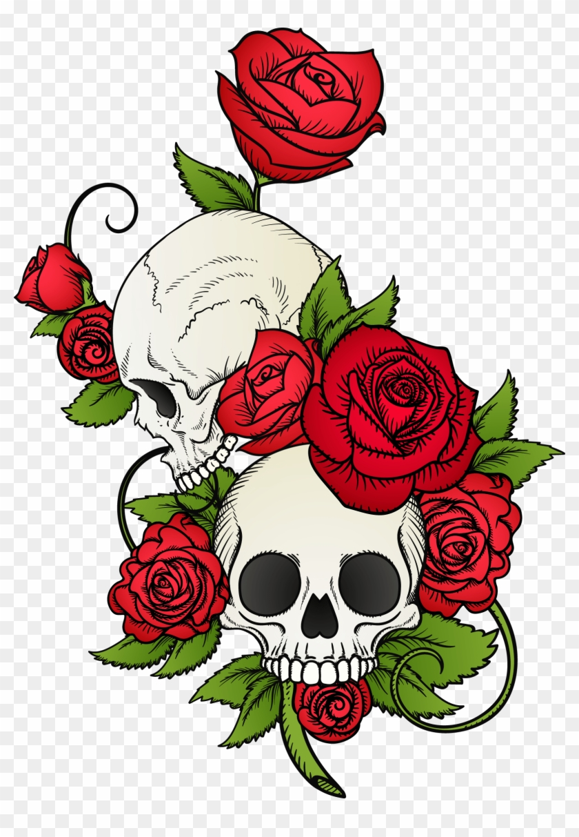 Stylish Tattoo Png Skull And Roses Drawing Clipart 1271746 Pikpng