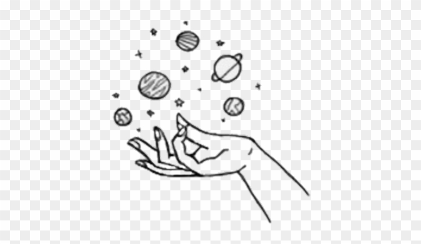 Hand Galaxy Planet Tumblr Tattoo Aesthetic Easy Drawings Clipart 1272145 Pikpng