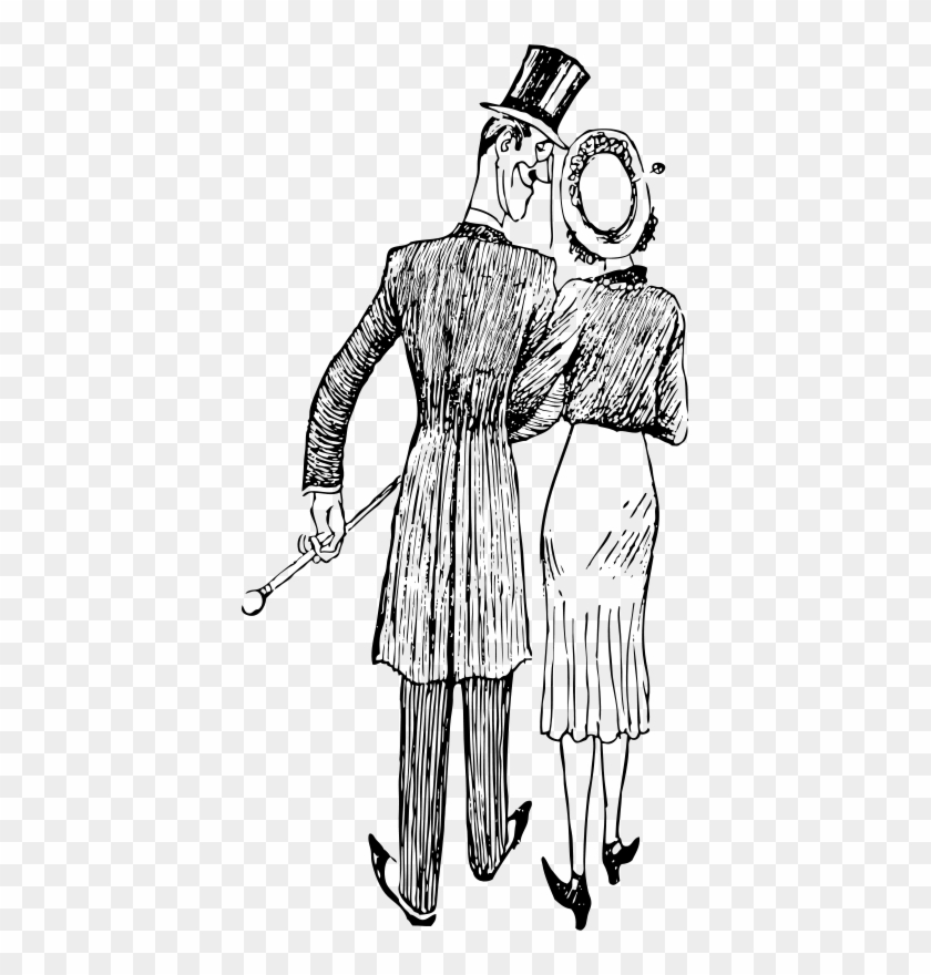 Silhouette Couple Walking Away Clipart #130915
