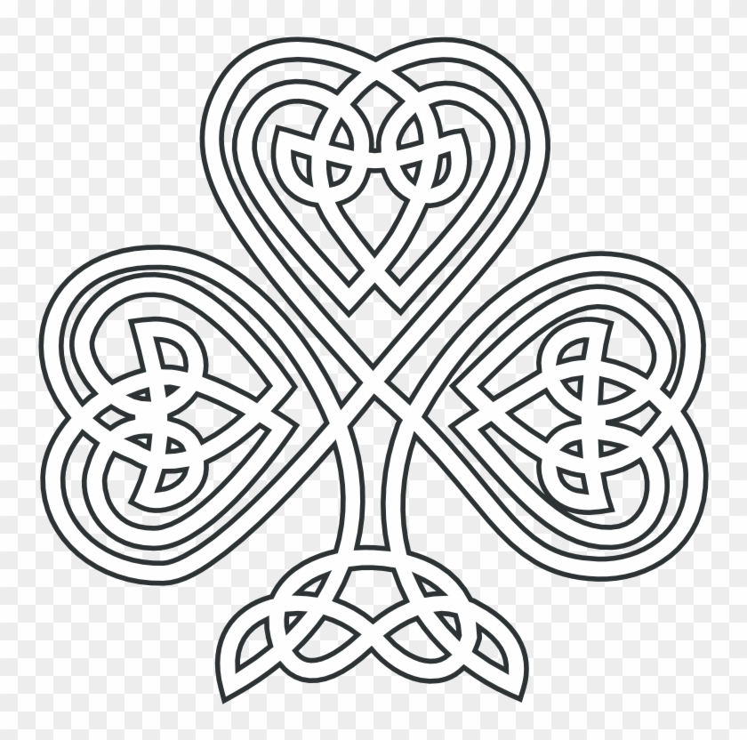 Clip Free Knotwork White Clip Art At Clker Com Celtic Knot Shamrock Coloring Pages Png Download 134328 Pikpng