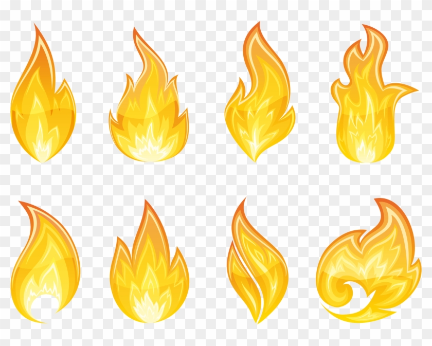 Transparent Flame Set Png Clipart - Fire Flame Drawing #134772