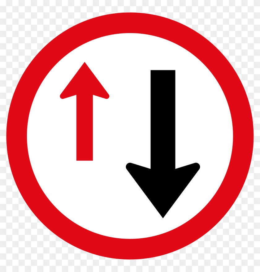 Yield To Oncoming Traffic Sign - Oncoming Traffic Has Right Of Way Clipart #1304856