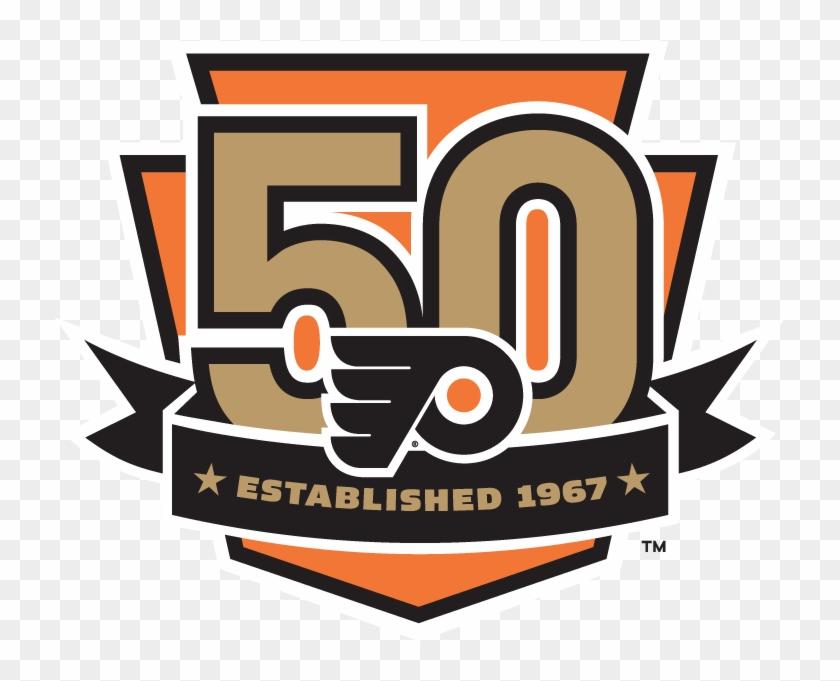 Flyers Png - Philadelphia Flyers 50th Anniversary Logo Clipart #1305834