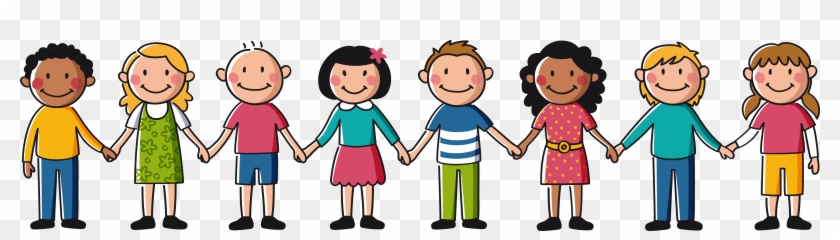 Kids Holding Hands Drawing - Children Holding Hands Clipart - Png Download  (#1317784) - PikPng