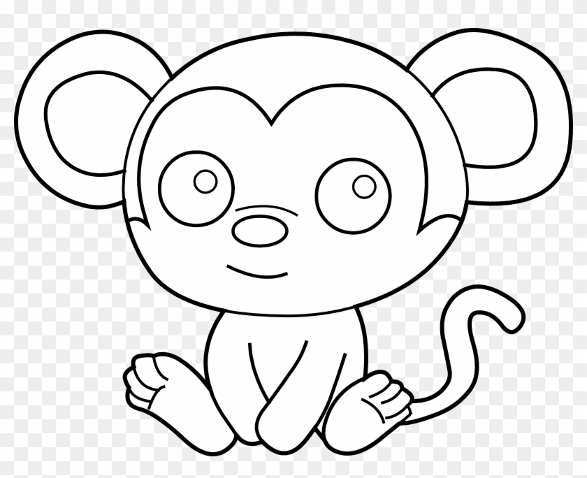 Cartoon Baby Monkey Pictures - Monkey Clipart Black And White Png Transparent Png@pikpng.com