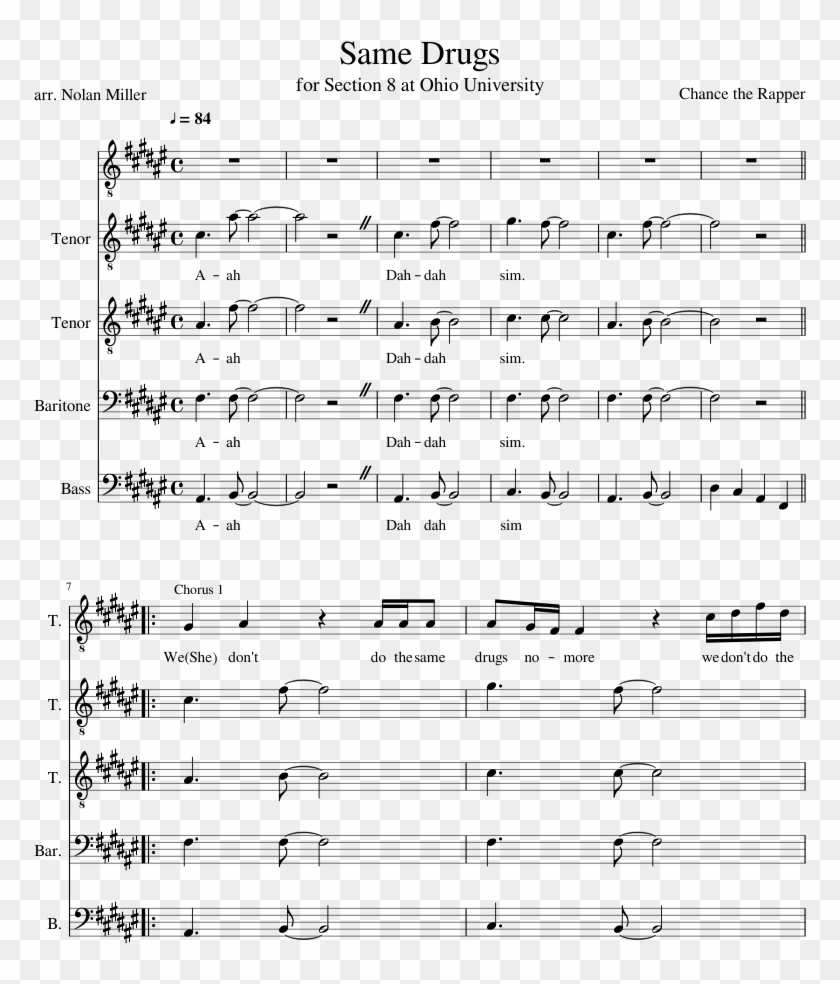 Same Drugs Sheet Music Composed By Chance The Rapper - Flight Of The Silverbird Sheet Music Alto Sax Clipart #1345724