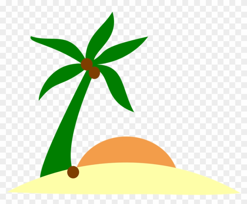 Sunset Clipart Plam Tree - Palm Tree Island Png Transparent Png #1353140