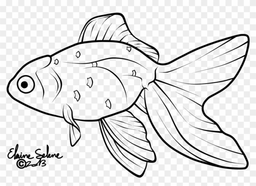 Drawn Gold Fish Line - Fish Tail Art Drawing Clipart #1359582