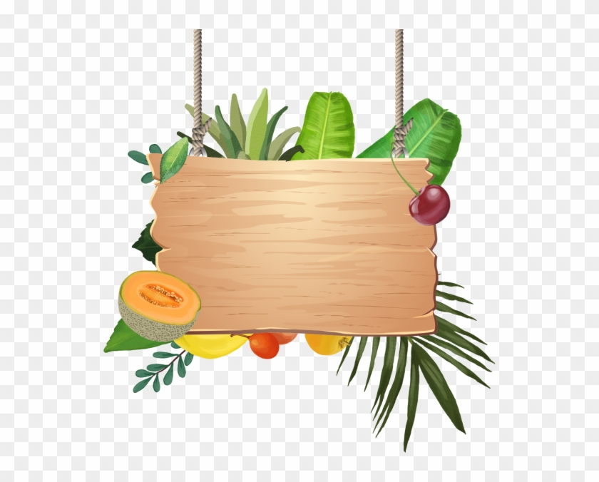 Decoration Of Tropical Fruits With Wooden Hanging, - Tropical Fruit Png Transparent Clipart #1376413