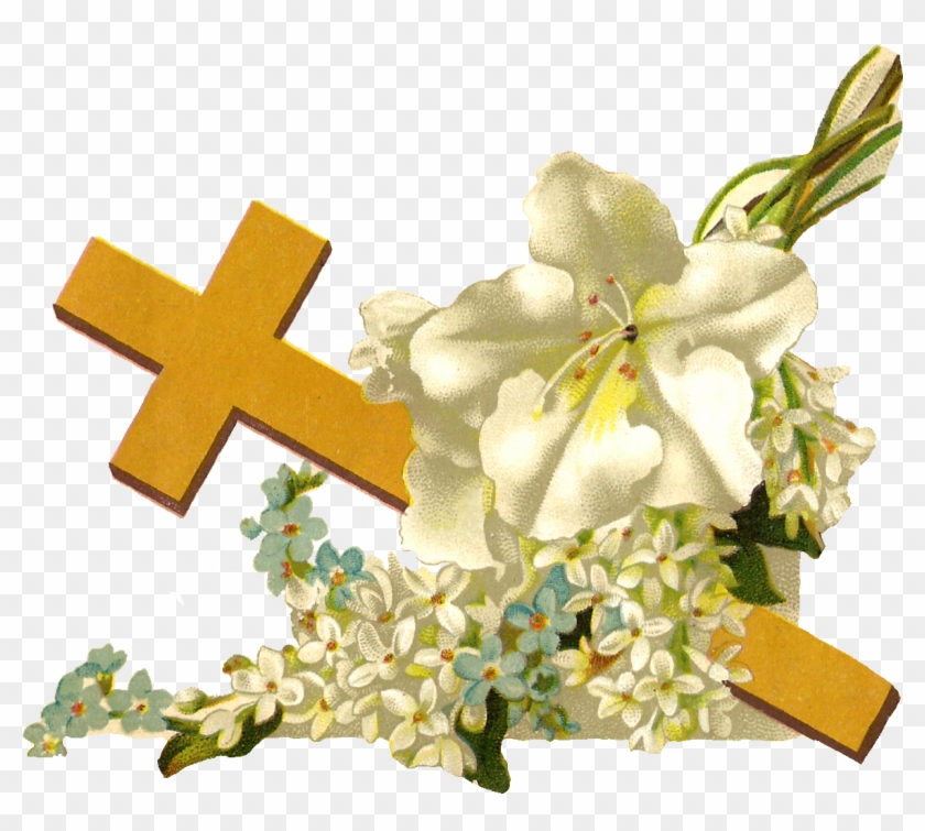 Free Religious Clip Art - Cross And Flowers Png, Transparent Png #144444