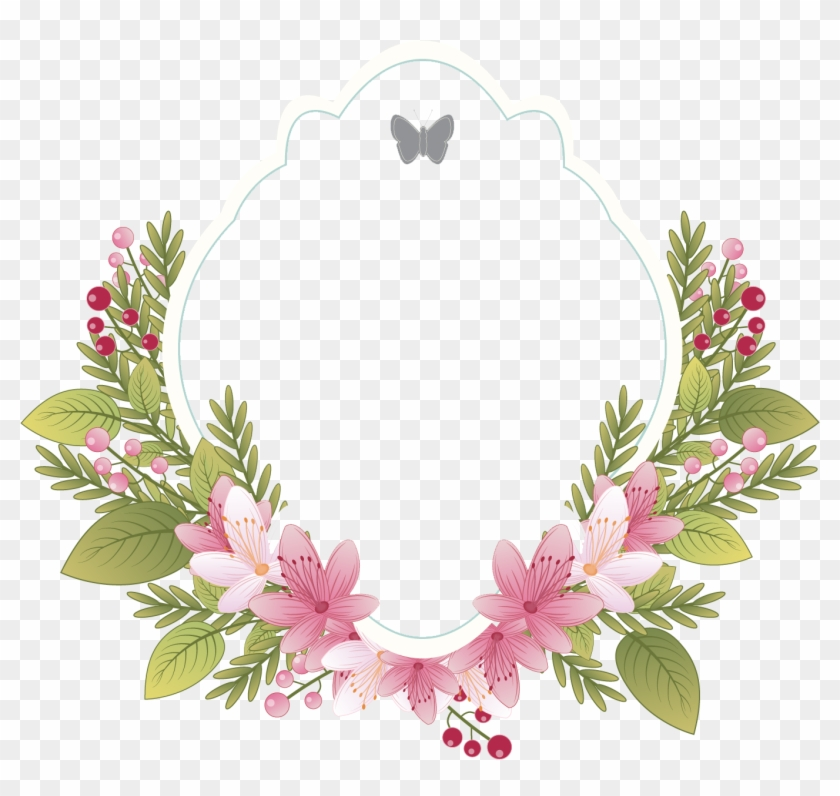 Flower Clothing Picture Wedding Invitation Label - Floral Border For Wedding Invitation, HD Png Download #146069