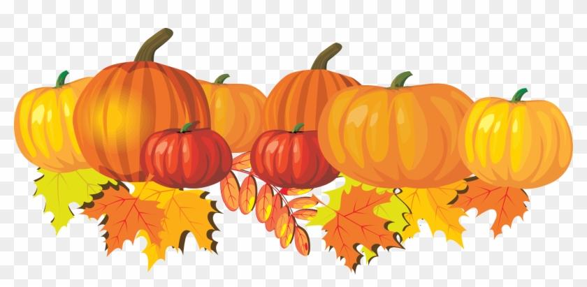 Pumpkins Vector Border - Fall Leaves And Pumpkin Clip Art - Png Download #147475