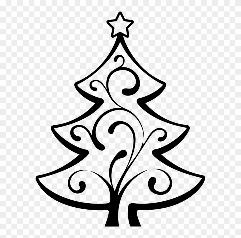 Christmas Tree Line Art Christmas Day Drawing Abstract - Big Christmas Tree Drawing Clipart #148395