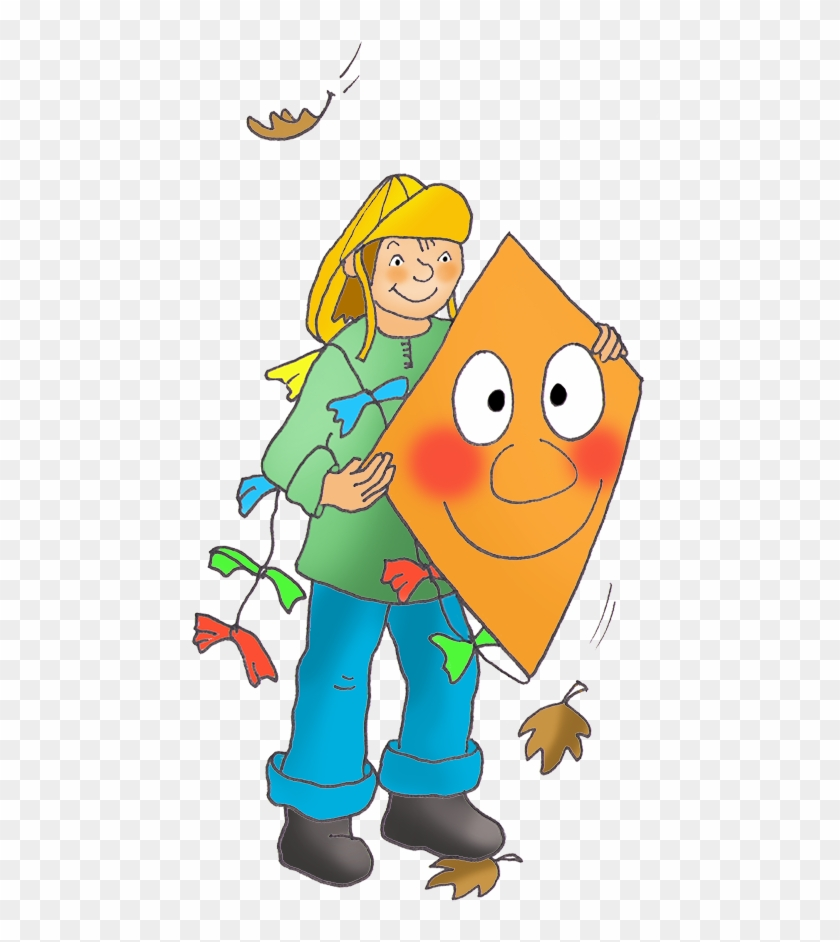 Border Of Autumn Leaves - Girl Kite Clipart Png Transparent Png #148925