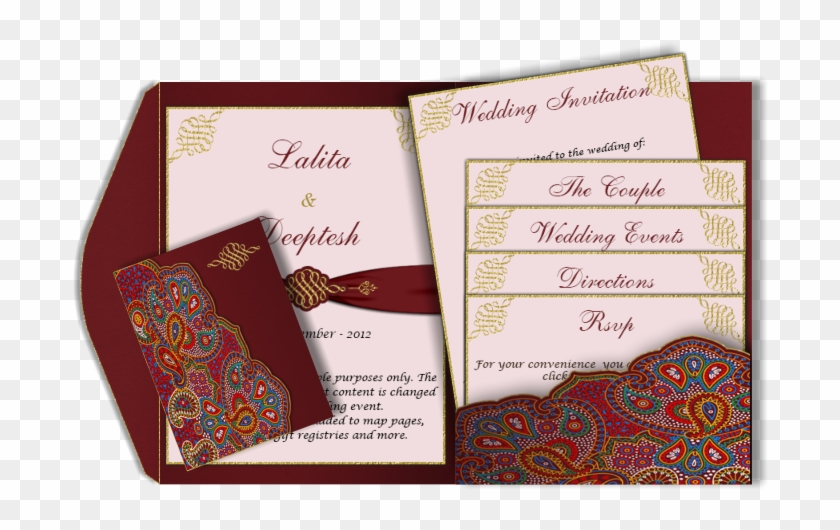 Email Card Pocket Fold Design Luxury Indian 3 Piece