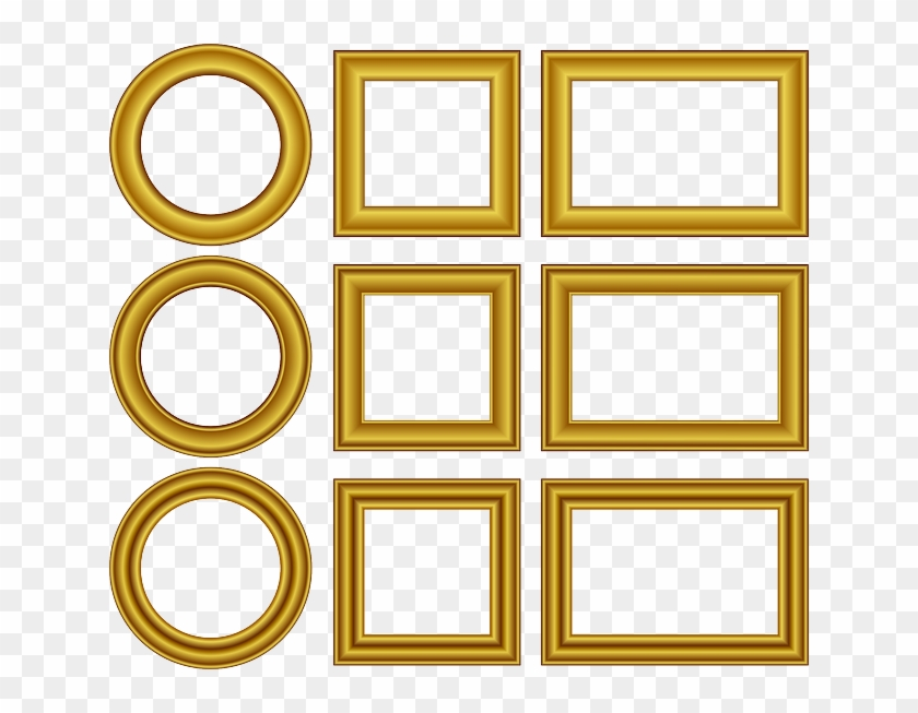 Square & Round Frame With Golden Border - Gold Frame Vector Free Clipart #1469638
