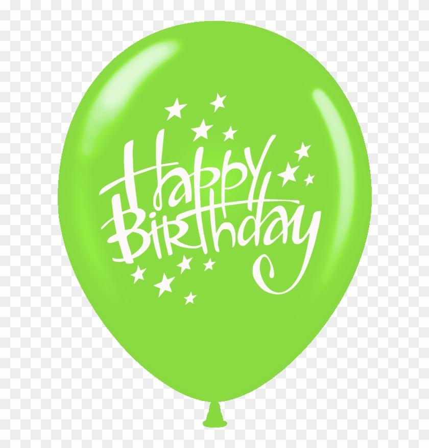 Balloons Printed Happy Birthday With Stars 1 Side 100 - Happy Birthday Balloon Green Clipart #1472282