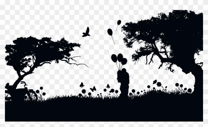 Boy, Butterflies, Couple, Dark, Female, Girl, Hearts - Love Landscape Silhouette Clipart #1486403