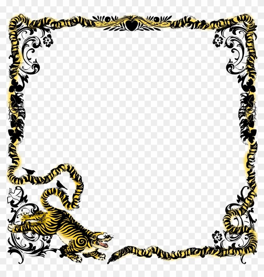 Tiger Paw Print Clip Art Border - Tiger Frame - Png Download #1494237