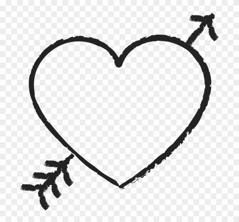 Cute Arrow Heart Png - Black And White Heart And Arrow Clipart #150469