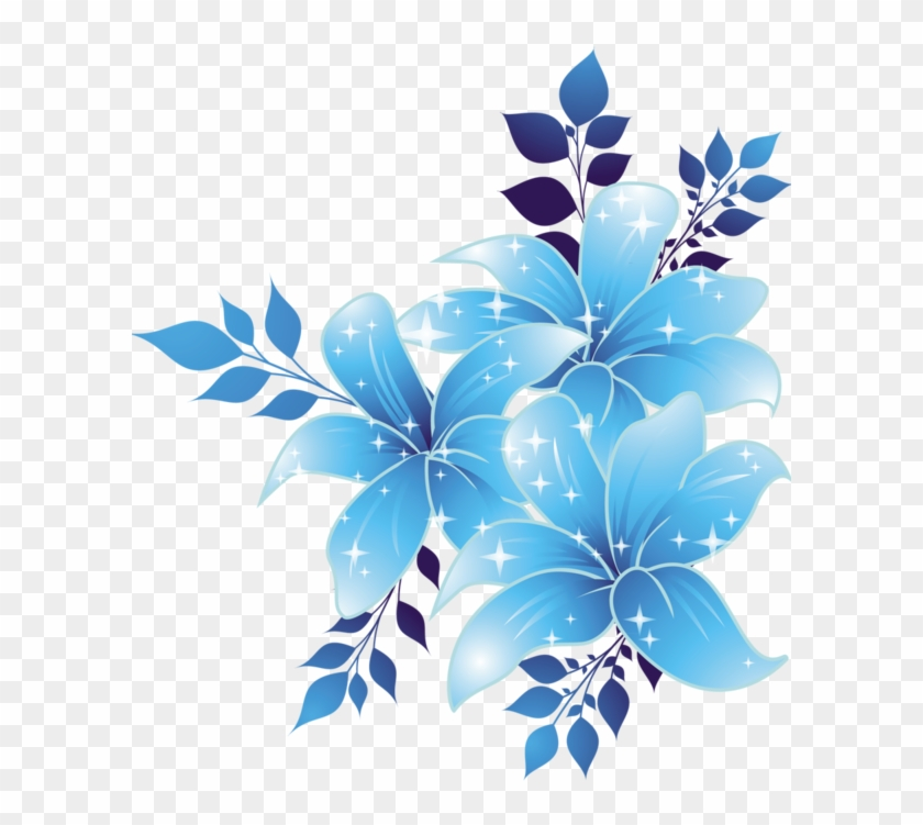 Free Download Blue Flowers Png Clipart Borders And - Flower Corner Border Design Png Transparent Png #153110