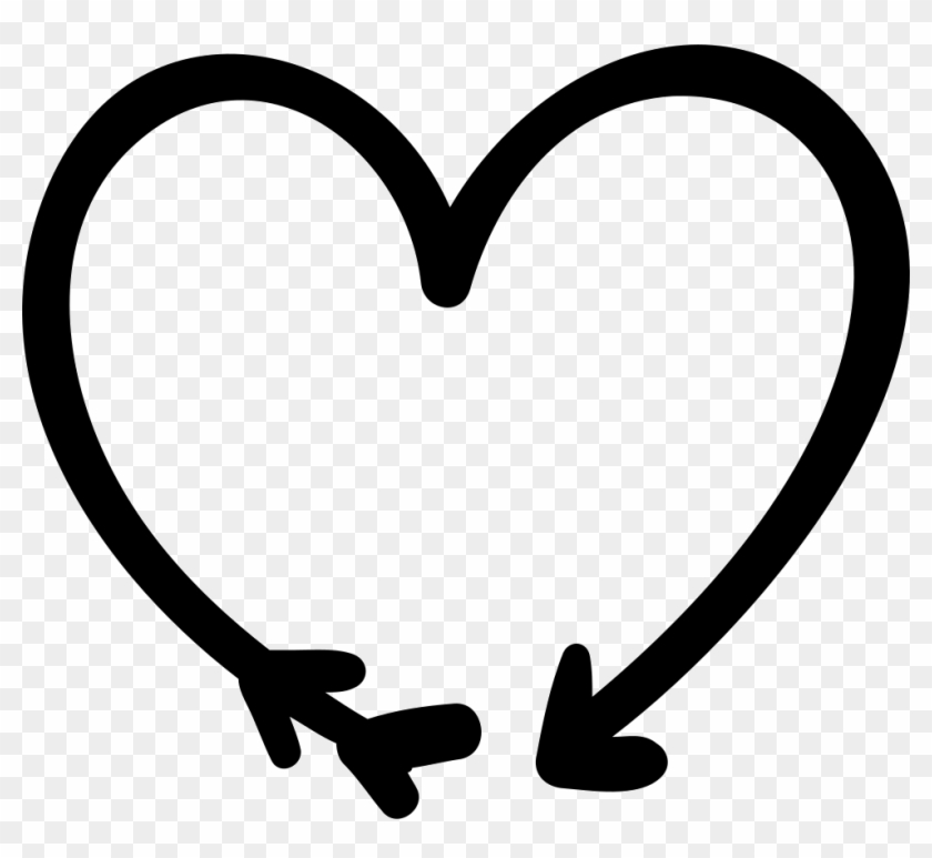 Arrow And Heart Doodle Png Icon Free - Arrow Heart Outline Png Clipart #153872