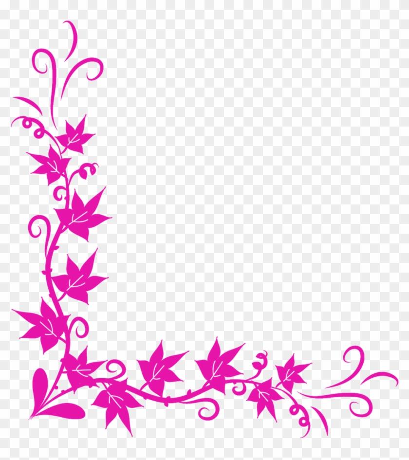 Page Border Corner Png - Flower Corner Border Design Png Clipart #156071