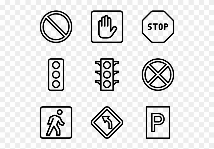 Traffic & Road Signs - Graphic Design Vector Icons Clipart