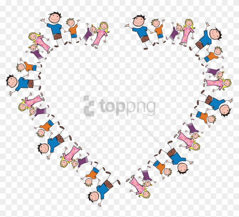 Free Png Freeof A Heart Frame Made Of Stick Family - Stick Figure Family Heart Clipart #1502832