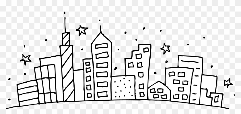 Clipart Black And - City Skyline Coloring Page - Png Download #1524168