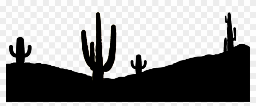 Cactus Silhouette Png , Png Download - Black And White Desert Silhouette Clipart@pikpng.com