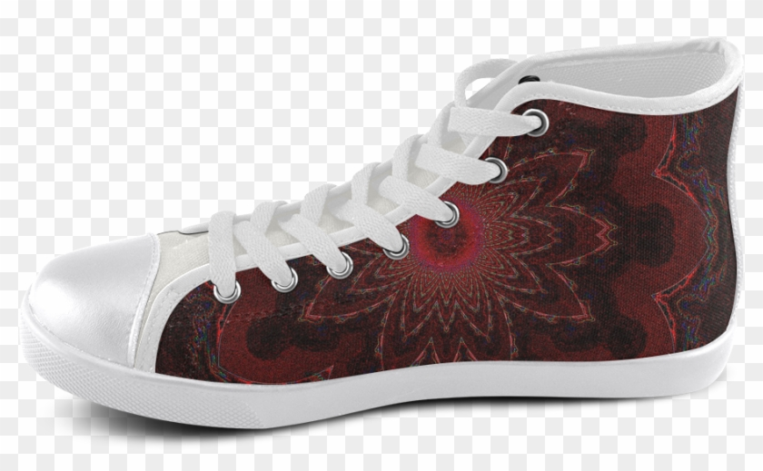 Dark Red And Purple Lotus Star Mandala High Top Canvas - Once Upon A Shoes Clipart #1527757