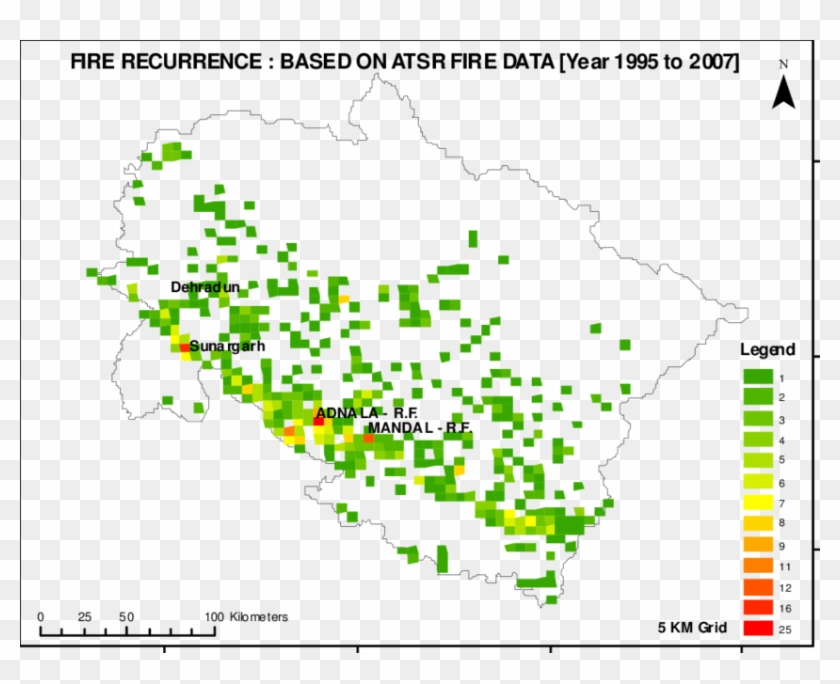 Map Of Reccurrence Of Fire In Uttarakhand State - Map, HD ...