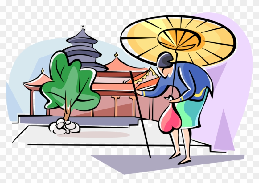 Vector Illustration Of Japanese Woman Walking With - Cartoon Clipart #1532290